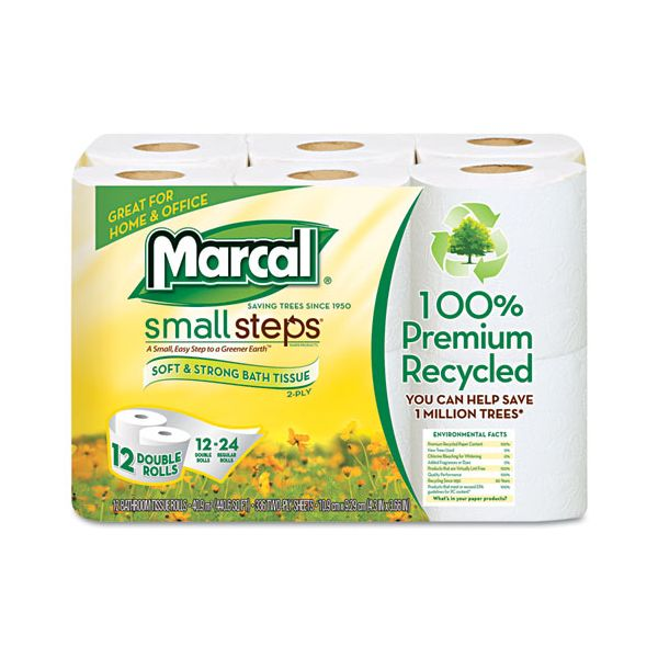 Marcal Small Steps 100% Premium Recycled Double Roll 2 Ply Toilet Paper