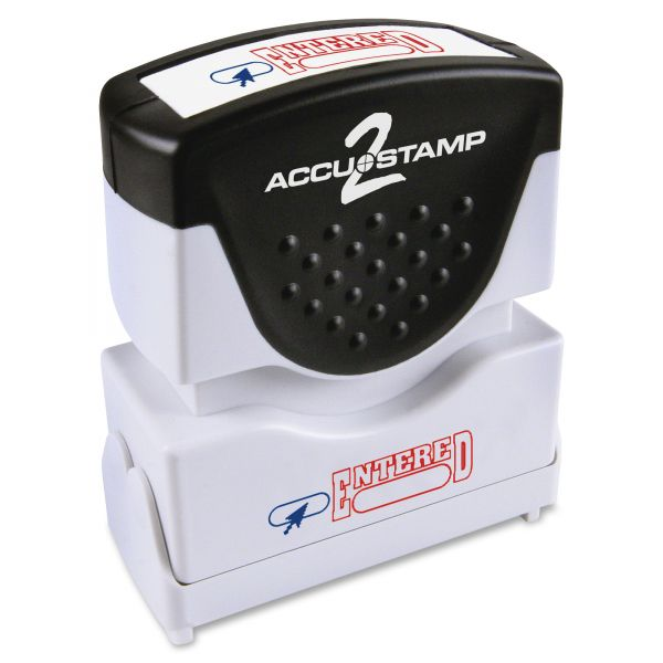 ACCUSTAMP2 Pre-Inked Shutter Stamp, Red/Blue, ENTERED, 1 5/8 x 1/2
