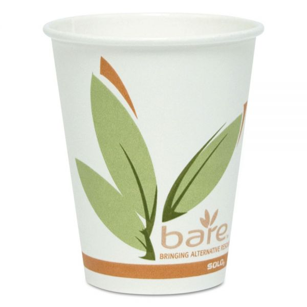 Dart Bare by Solo Eco-Forward Recycled Content PCF Paper Hot Cups, 8 oz, 500/Carton