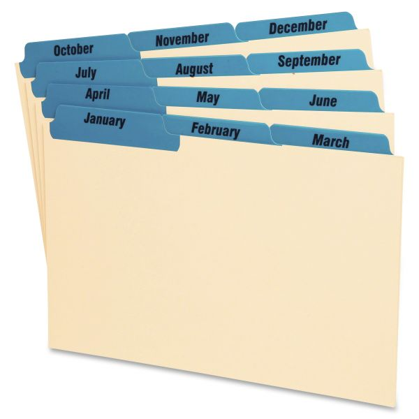 Oxford Monthly Laminated Tab Index Card Guides