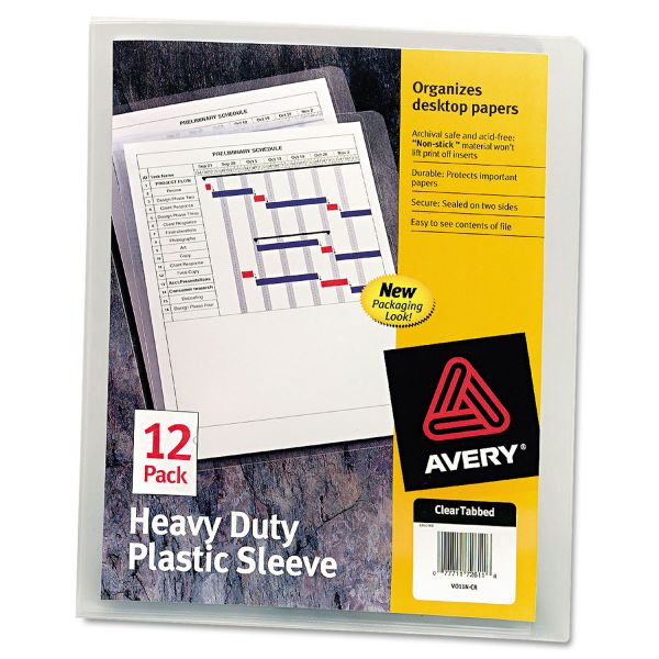 Avery Heavy-Duty Plastic Sleeves, Letter, Polypropylene, Clear, 12/Pack