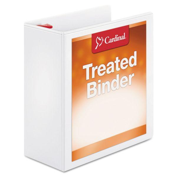 "Cardinal Treated Binder ClearVue Locking 3-Ring View Binder, 4"" Capacity, Slant-D Ring, White"
