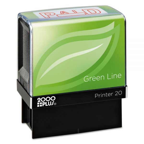 COSCO 2000PLUS Green Line Message Stamp, Paid, 1 1/2 x 9/16, Red