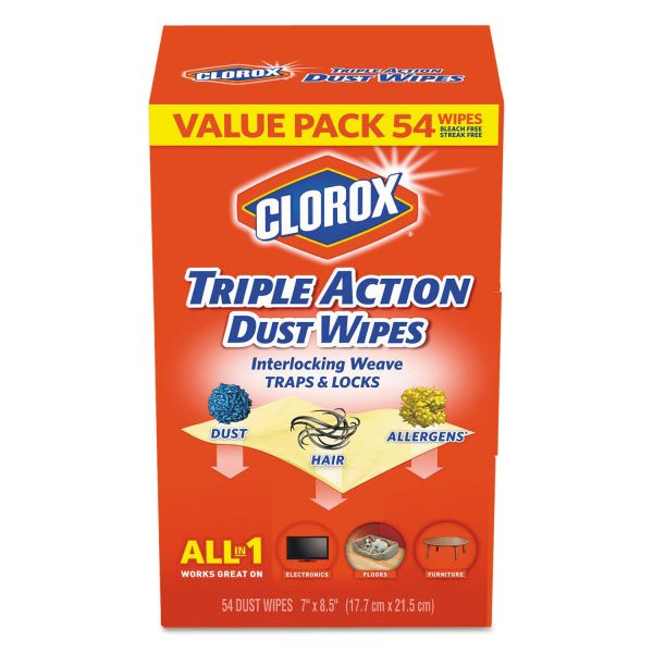 Clorox Triple Action Dust Wipes, White, 7 x 8 1/2, 54/Box