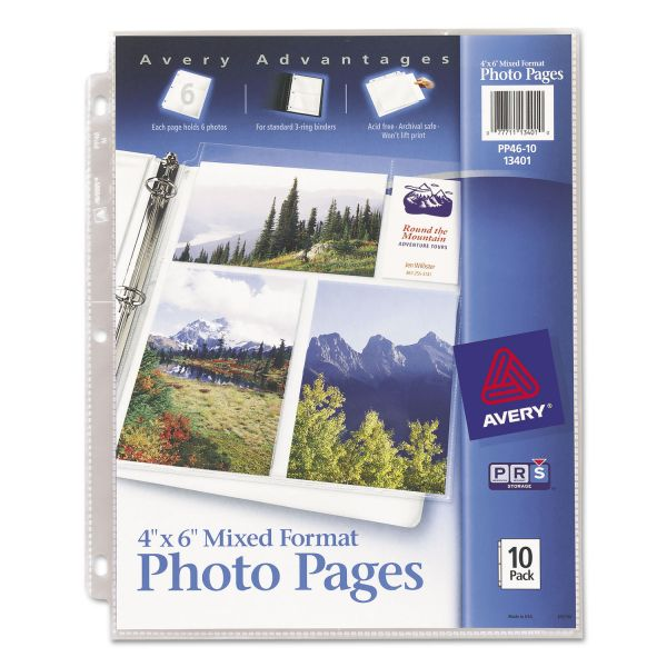Avery Photo Pages for Six 4 x 6 Mixed Format Photos, 3-Hole Punched, 10 per pack