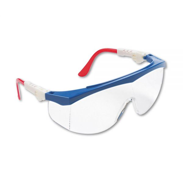 MCR Safety Tomahawk Wraparound Safety Glasses, Red/White/Blue Nylon Frame, Clear Lens