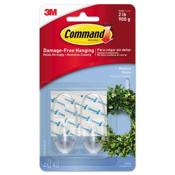 Command Clear Hooks & Strips, Plastic, Medium, 2 Hooks & 4 Strips/Pack
