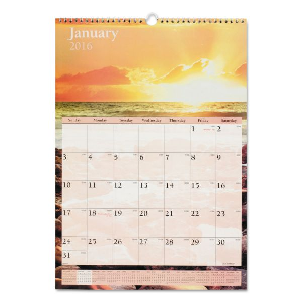 Visual Organizer Full-Color Scenic Photographic Monthly Wall Calendar