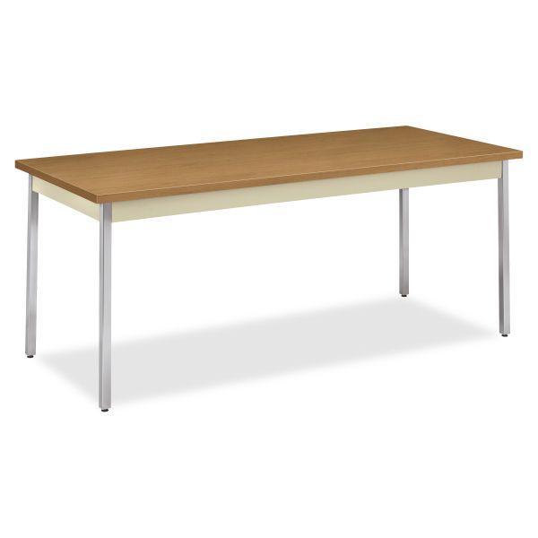 HON Utility Table, Rectangular, 72w x 30d x 29h, Harvest/Putty