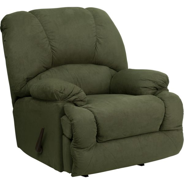 Flash Furniture Contemporary Glacier Olive Microfiber Chaise Rocker Recliner