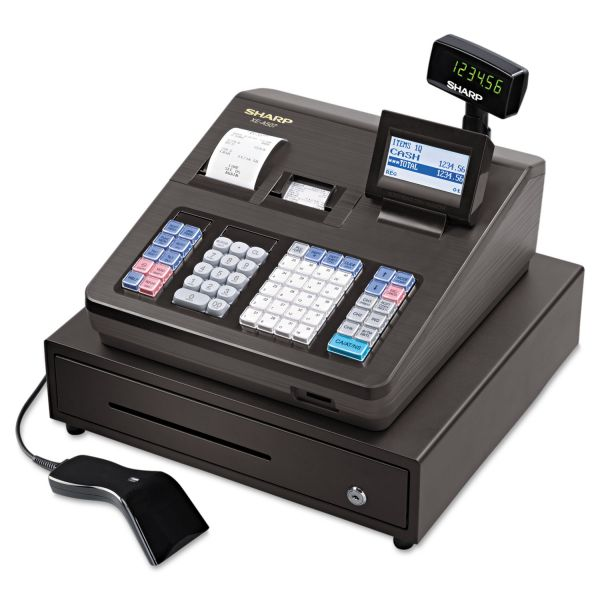 Sharp XE Series Cash Register w/Scanner, Thermal Printer, 7000 Lookup, 40 Clerks, LCD