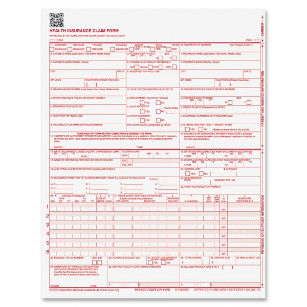 Paris Corporation CMS 02/12 Insurance Claim Form, 8 1/2 x 11, 250 Forms
