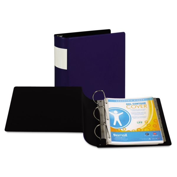 "Samsill DXL Heavy-Duty Locking 3-Ring Binder With Label Holder, 4"" Capacity, D-Ring, Dark Blue"