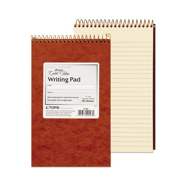 Ampad Gold Fibre Retro Wirebound Writing Pad, College/Medium, 5 x 8, Ivory, 80 Sheets