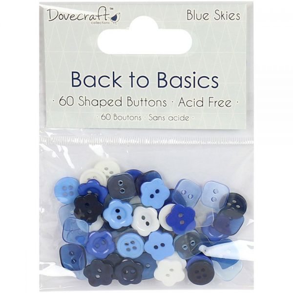 Dovecraft Back To Basics Blue Skies Plastic Buttons 60/Pkg