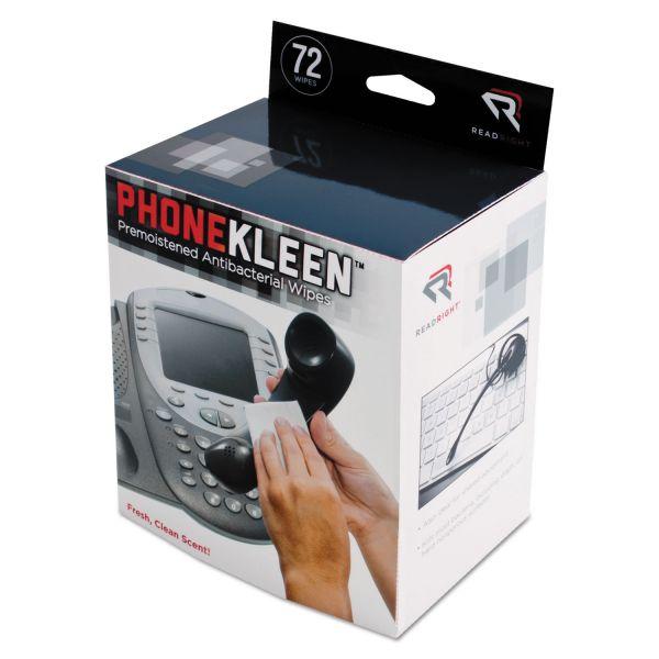Read Right PhoneKleen Wet Wipes, Cloth, 5 x 5, 72/Box