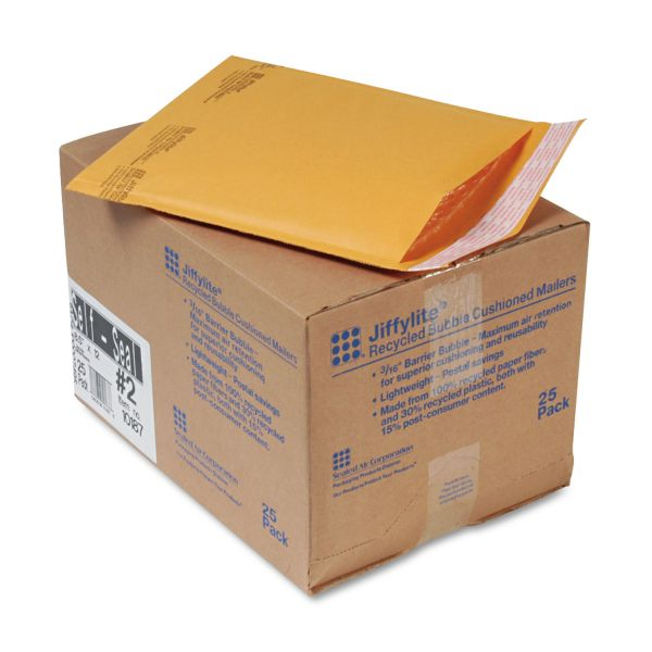 Sealed Air Jiffylite Self Seal Mailer, #2, 8 1/2 x 12, Golden Brown, 25/Carton