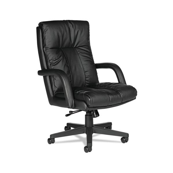 Global Series Leather High-Back Office Chair with Arms