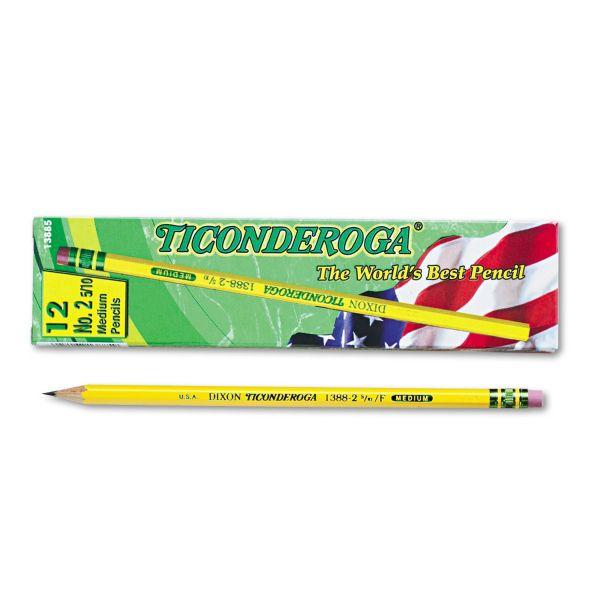 Ticonderoga Woodcase Pencil, F #2.5, Yellow, Dozen