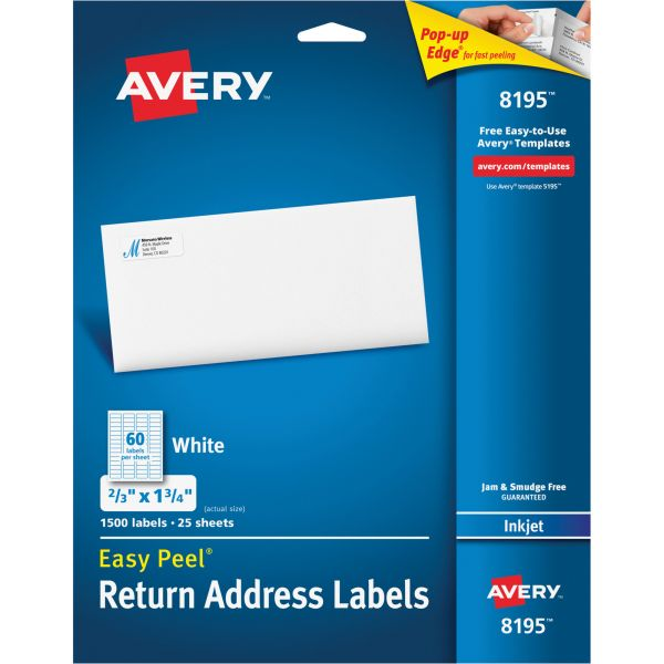 Avery 8195 Easy Peel Return Address Labels