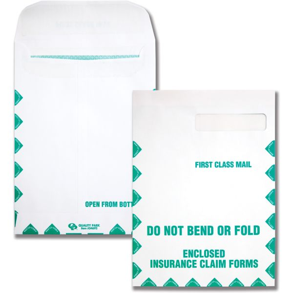 Quality Park Redi Seal Insurance Envelope, First Class, 9 x 12 1/2, White, 100/Box