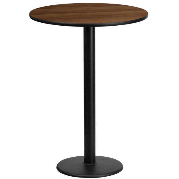 Flash Furniture 24'' Round Walnut Laminate Table Top with 18'' Round Bar Height Table Base