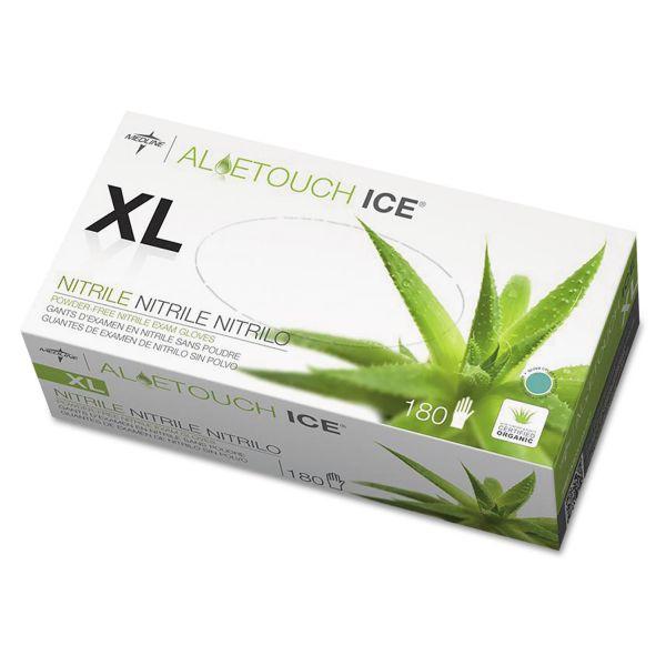 Medline Aloetouch Ice Nitrile Exam Gloves, X-Large, Green, 180/Box