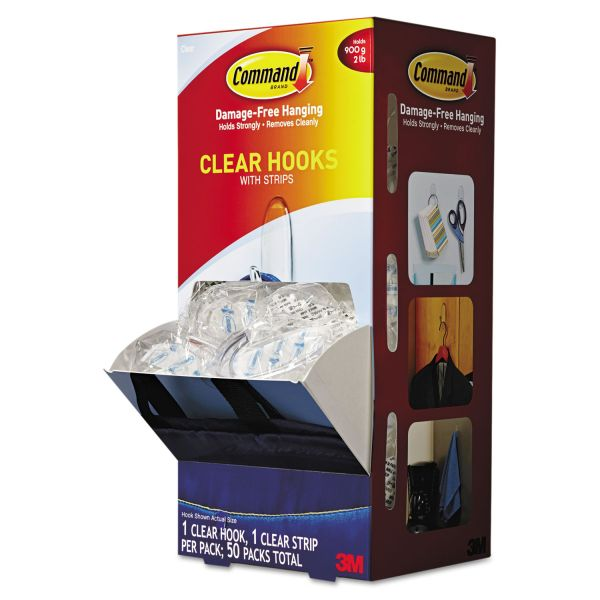 Command Clear Hooks & Strips, Plastic, Medium, 50 Hooks w/50 Adhesive Strips per Carton