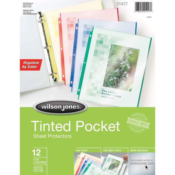 Wilson Jones Tinted Pocket Sheet Protectors