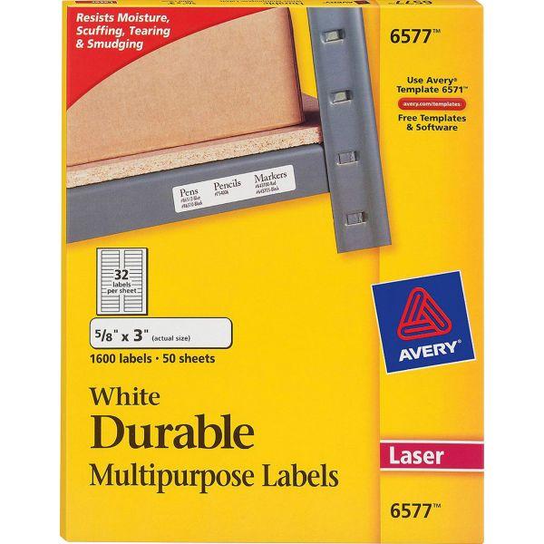 Avery Permanent ID Labels w/TrueBlock Technology, Laser, 5/8 x 3, White, 1600/Pack