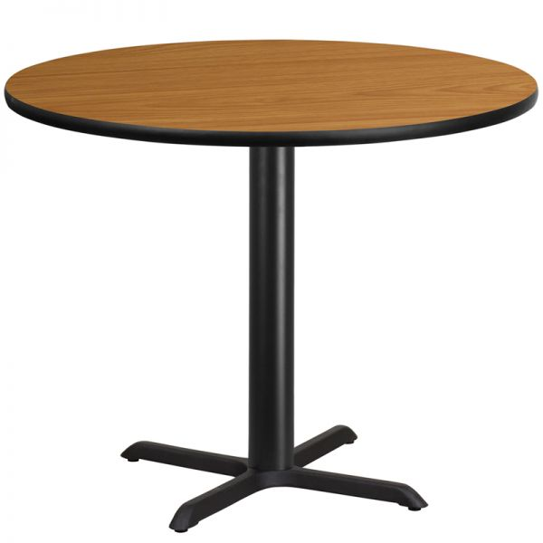 Flash Furniture 42'' Round Natural Laminate Table Top with 33'' x 33'' Table Height Base
