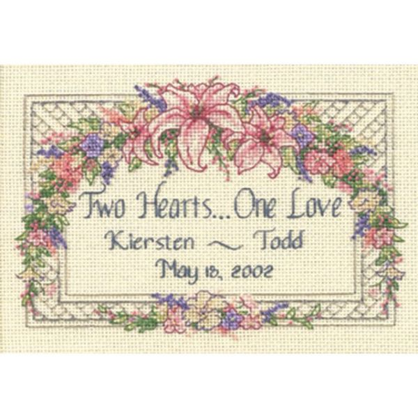 One Love Wedding Record Mini Counted Cross Stitch Kit