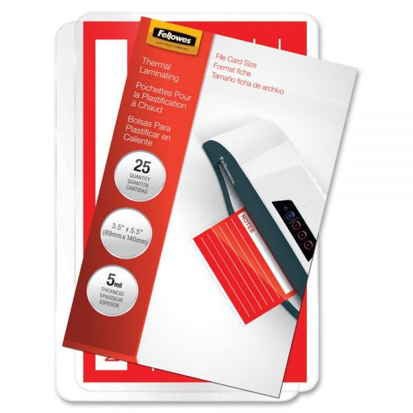 Fellowes File Card Laminating Pouches