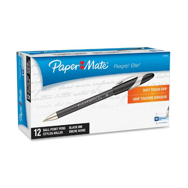 Paper Mate FlexGrip Elite Ballpoint Stick Pen, Black Ink, Medium, Dozen