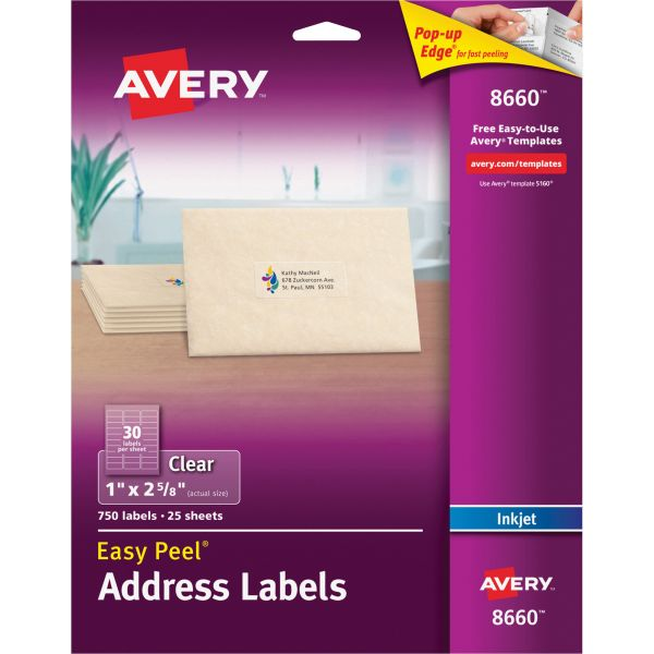 Avery Matte Clear Easy Peel Address Labels, 1 x 2 5/8, 750/Pack