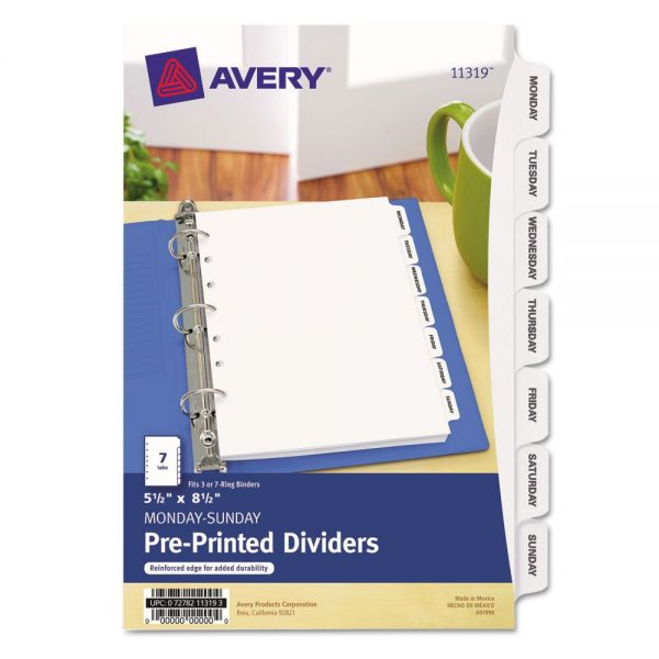"Avery 5 1/2"" x 8 1/2"" Preprinted Daily Tab Dividers"