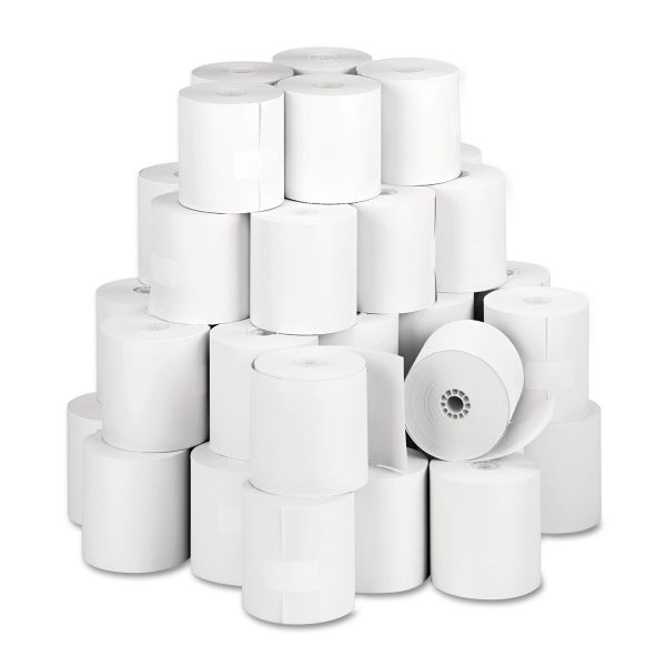 """PM Company Single Ply Thermal Cash Register/POS Rolls, 3 1/8"""" x 273 ft., White, 50/CT"""