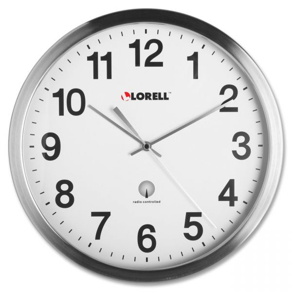 Lorell Brushed Metal Atomic Control Wall Clock