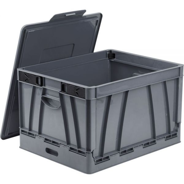 Storex Collapsible Crate with Lid, Gray