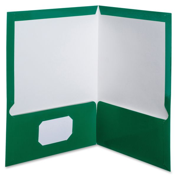 Oxford Green Laminated Two Pocket Folders