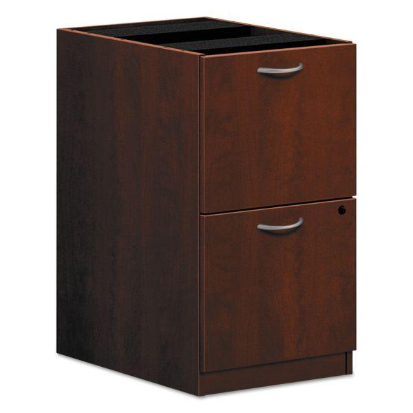 HON BL Laminate Two Drawer Pedestal File, 15 5/8w x 21 3/4d x 27 3/4h, Medium Cherry