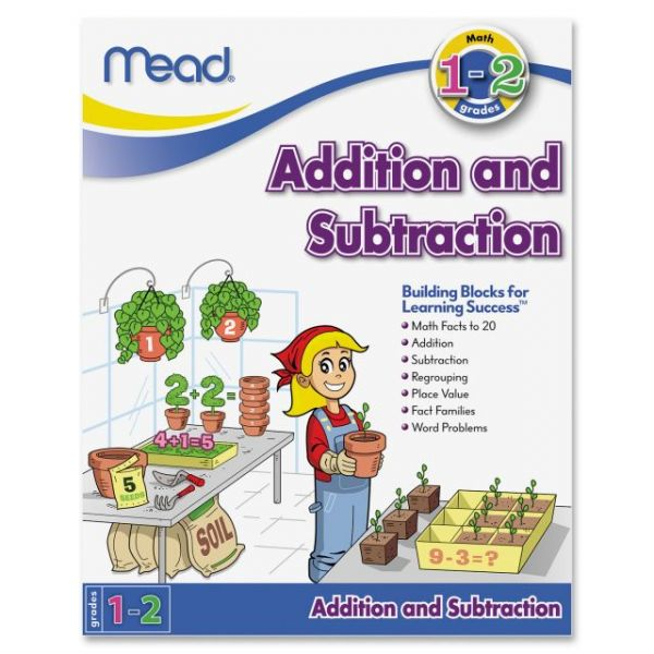 Mead Addition and Subtraction Workbook Grades 1-2 Education Printed Book for Mathematics