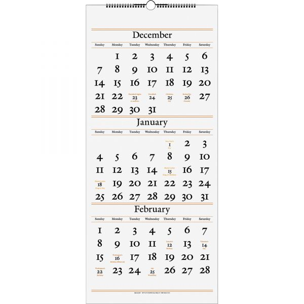 AT-A-GLANCE Three-Month Reference Wall Calendar, 12 x 27, 2017-2019