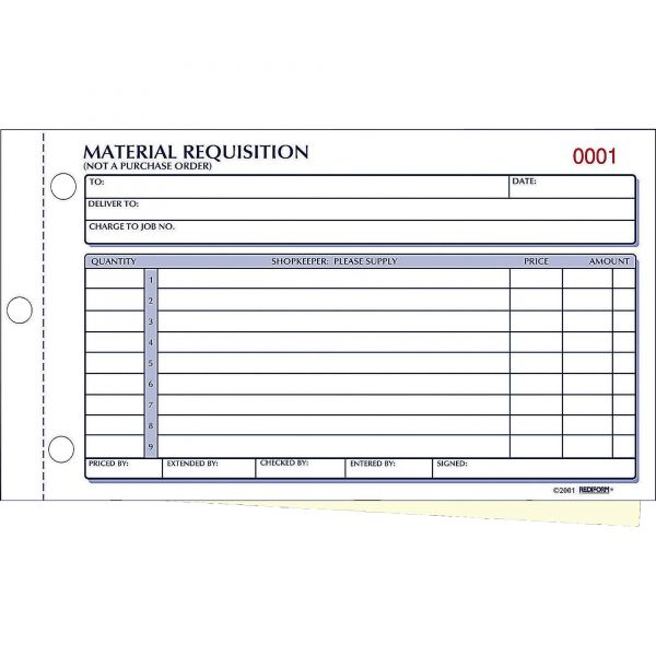 Rediform Material Requisition Book, 7 7/8 x 4 1/4, Two-Part Carbonless, 50-Set Book