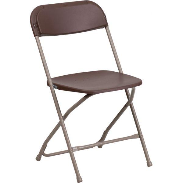 Flash Furniture HERCULES Series 800 lb. Capacity Premium Brown Plastic Folding Chair