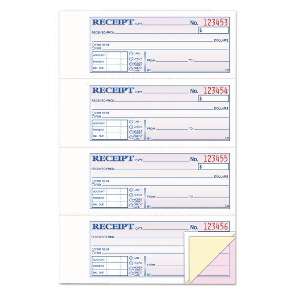 Adams Receipt Book, 7 5/8 x 11, Three-Part Carbonless, 100 Forms