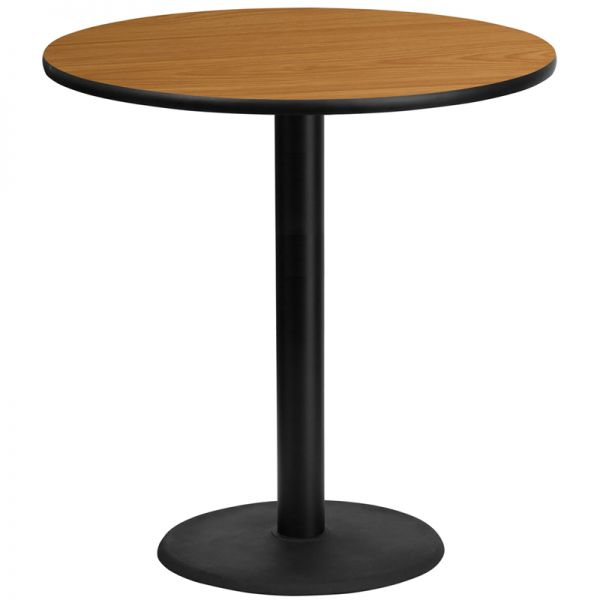 Flash Furniture 42'' Round Natural Laminate Table Top with 24'' Round Bar Height Table Base