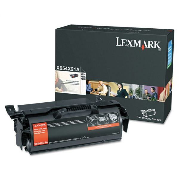 Lexmark X654X21A Black Extra High Yield Toner Cartridge