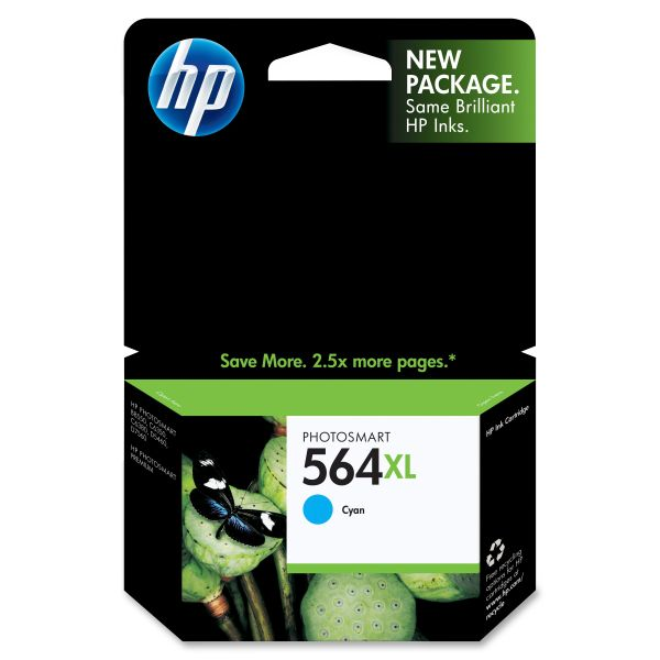 HP 564XL High Yield Cyan Ink Cartridge (CB323WN)