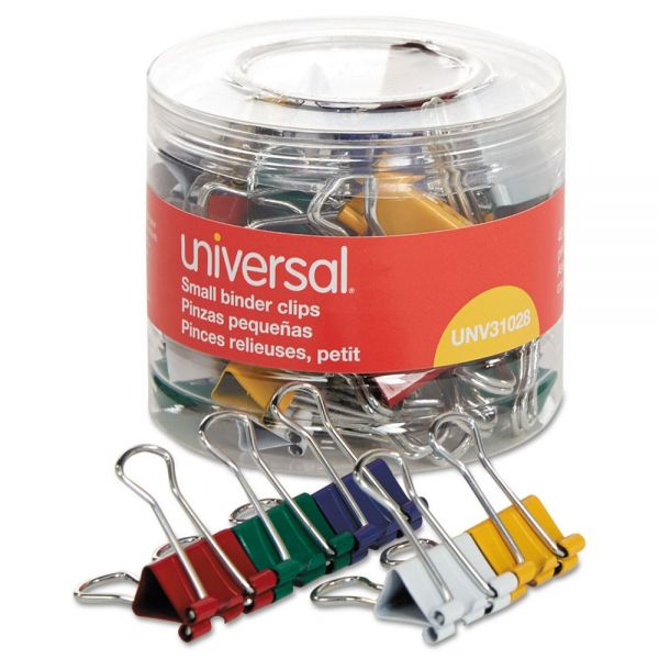 "Universal Small Binder Clips, 3/8"" Capacity, 3/4"" Wide, Assorted Colors, 40/Pack"